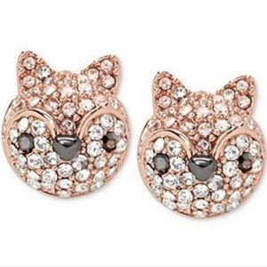 Fossil | Rose Gold-Tone Crystal Fox Stud Earrings